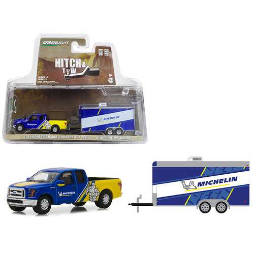 2016 Ford F-150 Michelin Tires and Enclosed Car Trailer Michelin Tires Racing Hitch & Tow Series 13 1/64 Diecast Model Car by Greenlight