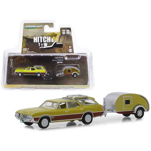 "1971 Oldsmobile Vista Cruiser and Teardrop Travel Trailer Green ""Hitch & Tow"" Series 17 1/64 Diecast Model Car by Greenlight"