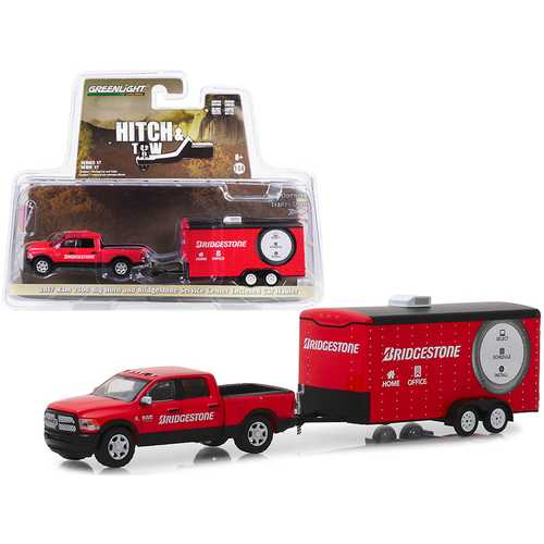 "2017 RAM 2500 Big Horn Pickup Truck and Enclosed Car Hauler ""Bridgestone Service Center"" Red ""Hitch & Tow"" Series 17 1/64 Diecast Model Car by Greenlight"