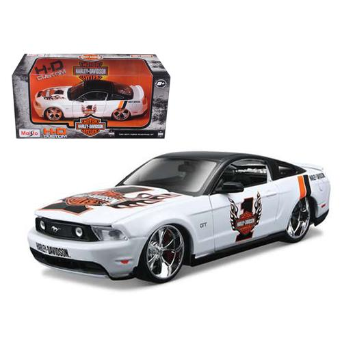 2011 Ford Mustang GT White #1 Harley Davidson 1/24 Diecast Model Car by Maisto