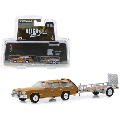 """1977 Pontiac LeMans Safari Gold and Utility Trailer """"Hitch & Tow"""" Series 18 1/64 Diecast Model Car by Greenlight"""