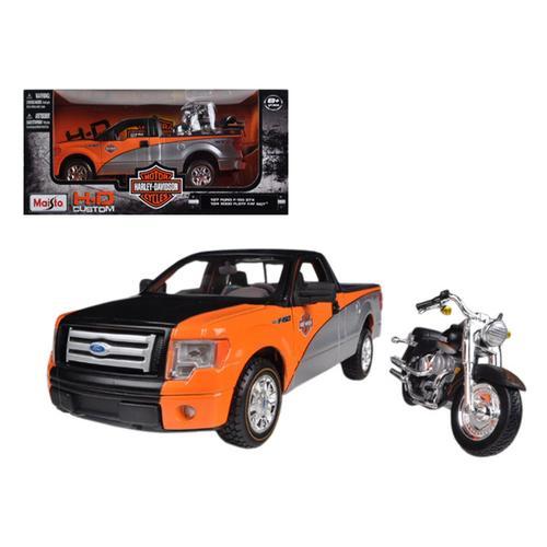 2010 Ford F-150 STX Orange/Black/Silver 1/27 & 1/24 Harley Davidson FLSTF Fat Boy Motorcycle by Maisto
