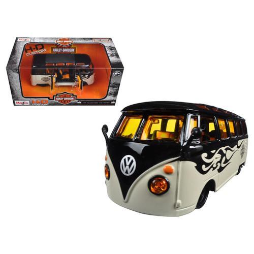 Volkswagen Van Samba Harley Davidson Black and Beige 1/25 Diecast Model Car by Maisto