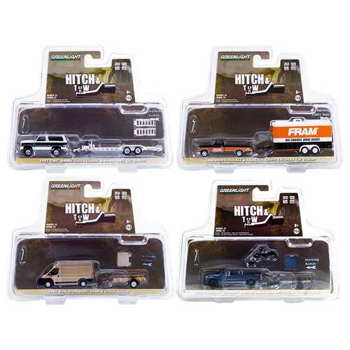 """""""Hitch & Tow"""" Set of 4 pieces Series 21 1/64 Diecast Model Cars by Greenlight"""