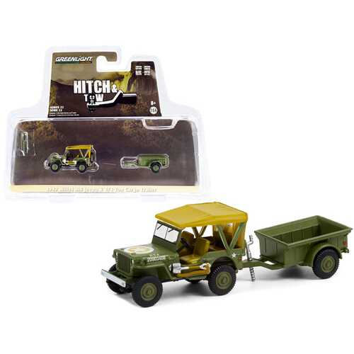 """1943 Willys MB Jeep Army Green with Brown Top and 1/4 Ton Cargo Trailer Army Green """"Hitch & Tow"""" Series 22 1/64 Diecast Model Car by Greenlight"""