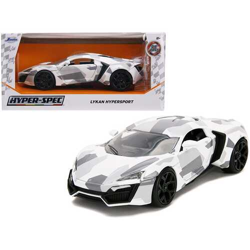 "Lykan Hypersport White Camouflage ""Hyper-Spec"" 1/24 Diecast Model Car by Jada"