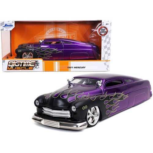 "1951 Mercury Purple with Black Flames ""Bigtime Muscle"" 1/24 Diecast Model Car by Jada"