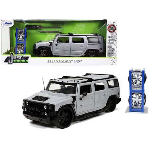 """Hummer H2 Gray with Extra Wheels """"Just Trucks"""" Series 1/24 Diecast Model Car by Jada"""
