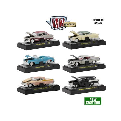Auto Thentics 6 Piece Set Release 39 IN DISPLAY CASES 1/64 Diecast Model Cars by M2 Machines