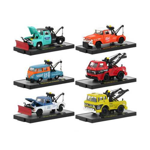 Auto Tow Trucks 6 piece Set Release 52 IN DISPLAY CASES 1/64 Diecast Model Cars by M2 Machines