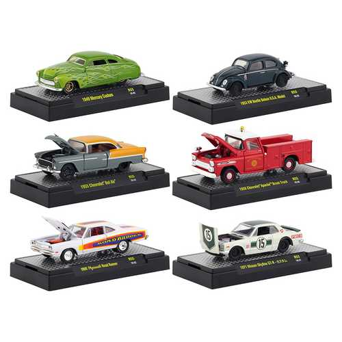 Auto Shows 6 piece Set Release 55 IN DISPLAY CASES 1/64 Diecast Model Cars by M2 Machines