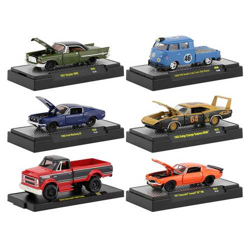 Auto Shows 6 piece Set, Release 56 IN DISPLAY CASES 1/64 Diecast Model Cars by M2 Machines