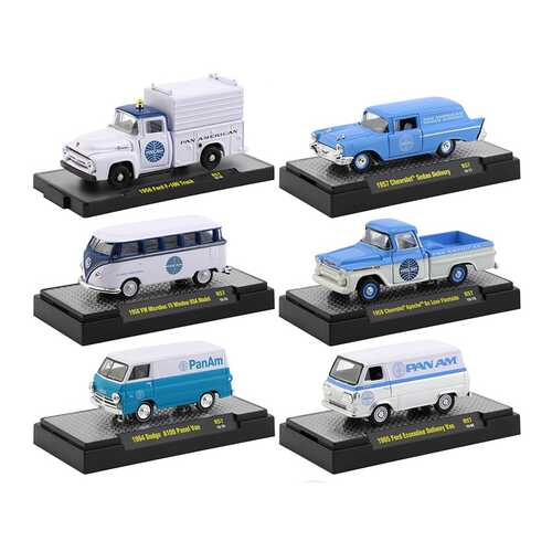 """""""Auto Trucks"""" Set of 6 pieces Release 57 """"Pan American World Airways"""" (Pan Am) IN DISPLAY CASES 1/64 Diecast Model Cars by M2 Machines"""