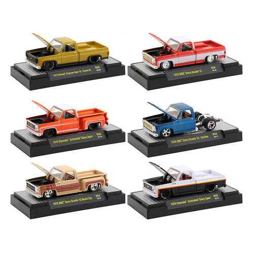 """""""Auto Trucks"""" Set of 6 pieces Square Body Trucks Release 58 in Display Cases 1/64 Diecast Model Cars by M2 Machines"""