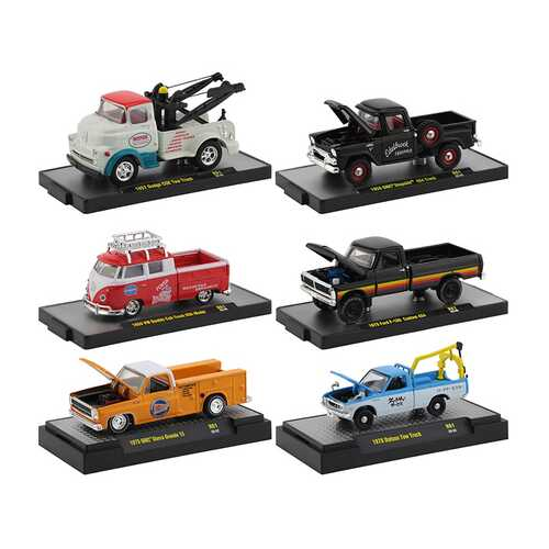 """Auto Shows"" 6 piece Set Release 61 IN DISPLAY CASES 1/64 Diecast Model Cars by M2 Machines"