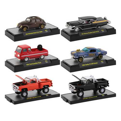 """Auto Trucks"" 6 piece Set Release 62 IN DISPLAY CASES 1/64 Diecast Model Cars by M2 Machines"