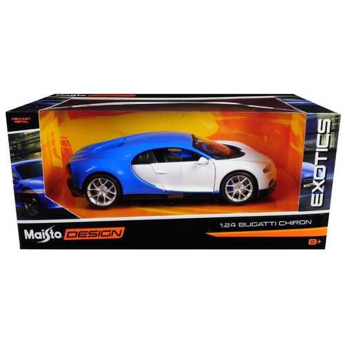 "Bugatti Chiron Blue / White ""Exotics"" 1/24 Diecast Model Car by Maisto"