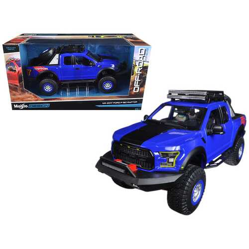 2017 Ford F-150 Raptor Pickup Truck Blue Off Road Kings 1/24 Diecast Model Car by Maisto