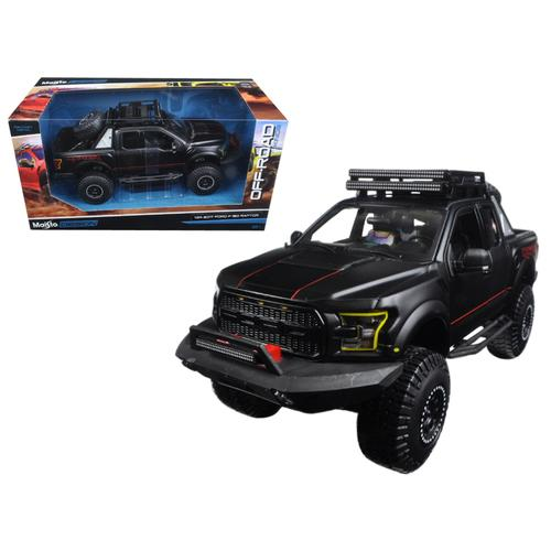 "2017 Ford F-150 Raptor Pickup Truck Matt Black ""Off Road Kings"" 1/24 Diecast Model Car  by Maisto"