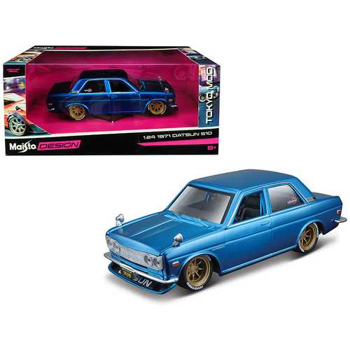 "1971 Datsun 510 Matt Candy Blue with Gold Wheels ""Tokyo Mod"" Maisto Design 1/24 Diecast Model Car by Maisto"