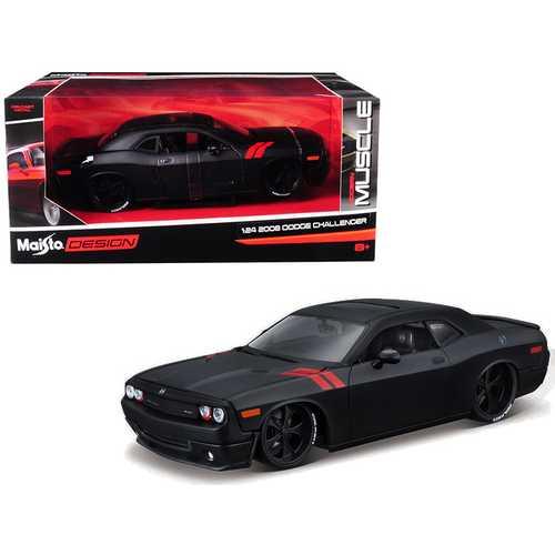 """2008 Dodge Challenger Matt Black """"Modern Muscle"""" 1/24 Diecast Model Car by Maisto"""