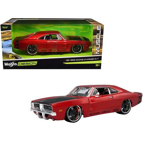 """1969 Dodge Charger R/T Red Metallic with Black Hood and Black Stripes """"Classic Muscle"""" 1/25 Diecast Model Car by Maisto"""