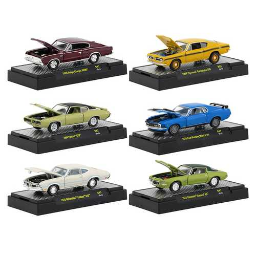 Detroit Muscle Release 47, Set of 6 Cars IN DISPLAY CASES 1/64 Diecast Model Cars by M2 Machines