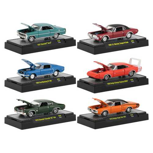 Detroit Muscle Release 48, Set of 6 Cars IN DISPLAY CASES 1/64 Diecast Model Cars by M2 Machines