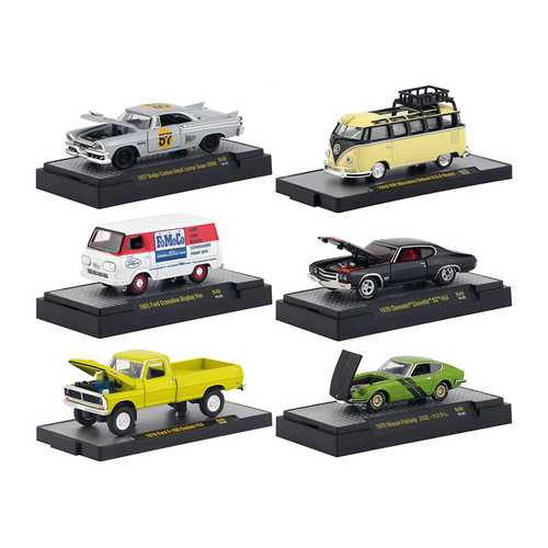 """Auto Meets"" Release 49, Set of 6 Cars IN DISPLAY CASES 1/64 Diecast Model Cars by M2 Machines"