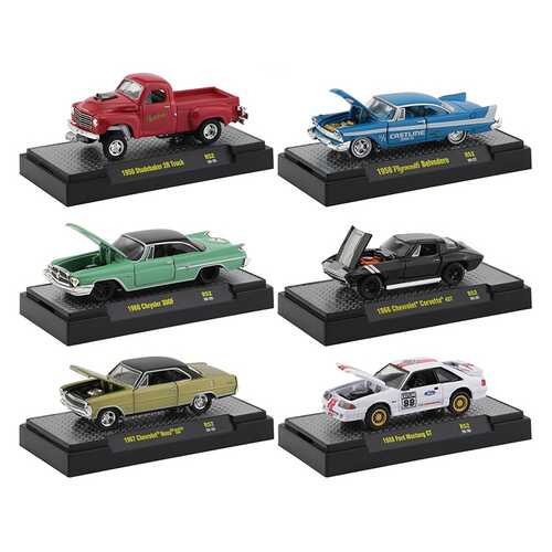 """""""Auto Meets"""" Set of 6 Cars IN DISPLAY CASES Release 52 1/64 Diecast Model Cars by M2 Machines"""