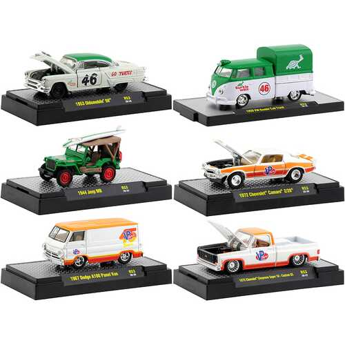 """""""Auto Meets"""" Set of 6 Cars IN DISPLAY CASES Release 53 1/64 Diecast Model Cars by M2 Machines"""