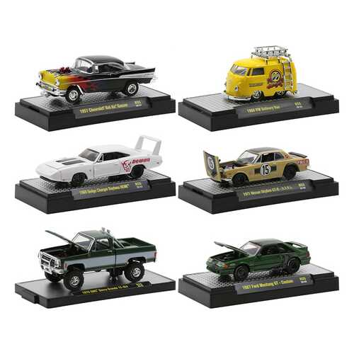 """""""Auto Meets"""" Set of 6 Cars IN DISPLAY CASES Release 55 Limited Edition to 8250 pieces Worldwide 1/64 Diecast Model Cars by M2 Machines"""