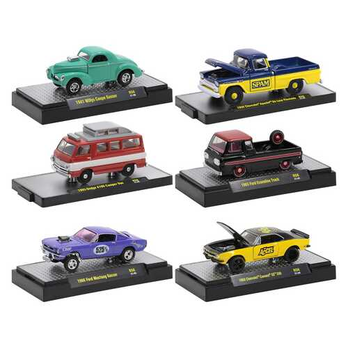 """""""Auto Meets"""" Set of 6 Cars IN DISPLAY CASES Release 56 Limited Edition to 7250 pieces Worldwide 1/64 Diecast Model Cars by M2 Machines"""