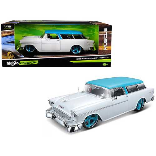 """1955 Chevrolet Bel Air Nomad Metallic White with Blue Top """"Classic Muscle"""" 1/18 Diecast Model Car by Maisto"""