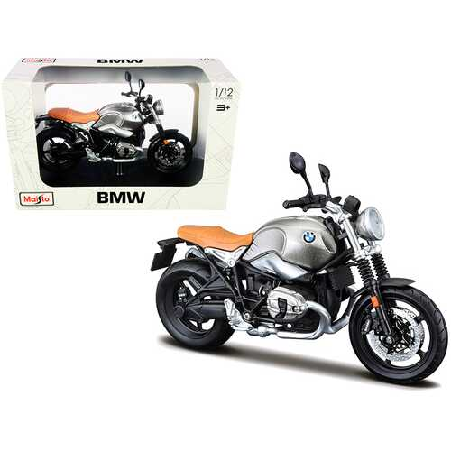 BMW R nineT Scrambler Meatllic Gray with Plastic Display Stand 1/12 Diecast Motorcycle Model by Maisto