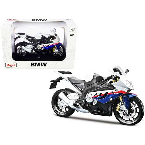 BMW S 1000 RR White with Blue and Red Stripes with Plastic Display Stand 1/12 Diecast Motorcycle Model by Maisto