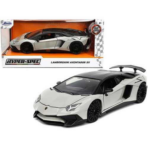 "Lamborghini Aventador SV Gray with Black Top ""Hyper-Spec"" Series 1/24 Diecast Model Car by Jada"