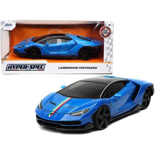 "Lamborghini Centenario Blue with Black Top with Stripes ""Hyper-Spec"" Series 1/24 Diecast Model Car by Jada"