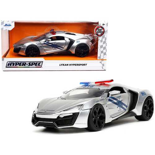 "Lykan Hypersport Police Silver with Blue Stripes ""Highway Patrol"" ""Hyper-Spec"" Series 1/24 Diecast Model Car by Jada"