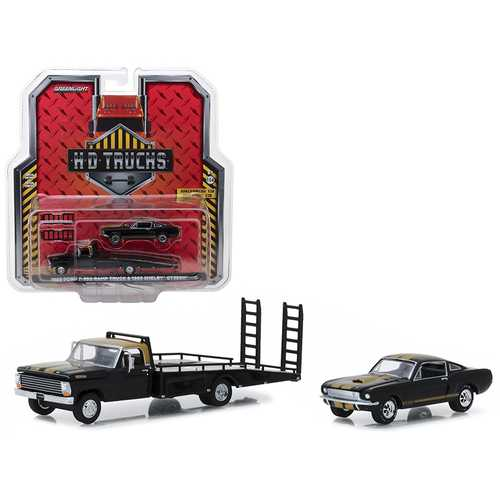1968 Ford F-350 Ramp Truck and 1966 Shelby GT350H Black with Gold Stripes HD Trucks Series 13 1/64 Diecast Models by Greenlight