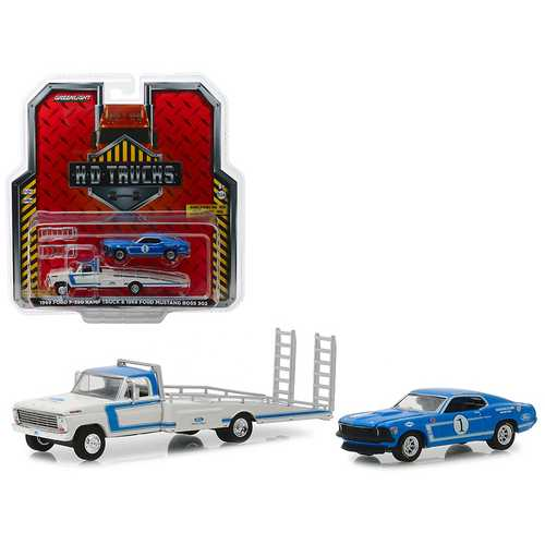 "1969 Ford F-350 Ramp Truck ""Ford Racing"" White and Blue with 1969 Ford Mustang Boss 302 #1 ""Mustang Clubs Racing Team"" Blue ""H.D. Trucks"" Series 15 1/64 Diecast Model Cars by Greenlight"