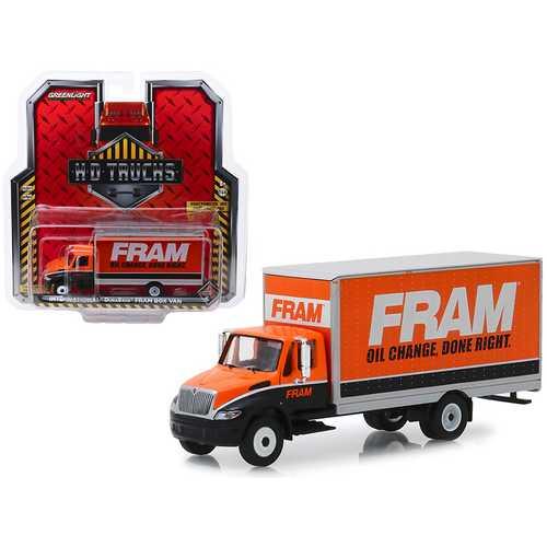 """International Durastar Box Van """"FRAM Oil Filters"""" """"H.D. Trucks"""" Series 16 1/64 Diecast Model by Greenlight"""