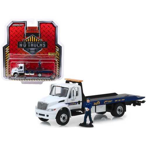 "International Durastar Flatbed ""Goodyear Roadside Service"" with Repair Man Figure ""H.D. Trucks"" Series 16 1/64 Diecast Model by Greenlight"