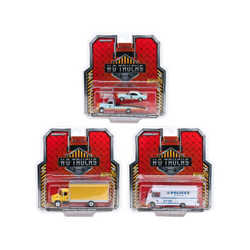 """""""Heavy Duty H.D. Trucks"""" Set of 3 pieces Series 18 1/64 Diecast Models by Greenlight"""