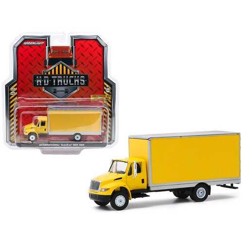 "International Durastar Box Van Yellow with Silver Trim ""H.D. Trucks"" Series 18 1/64 Diecast Model by Greenlight"