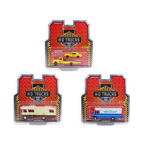 """""""Heavy Duty H.D. Trucks"""" Set of 3 pieces Series 20 1/64 Diecast Models by Greenlight"""