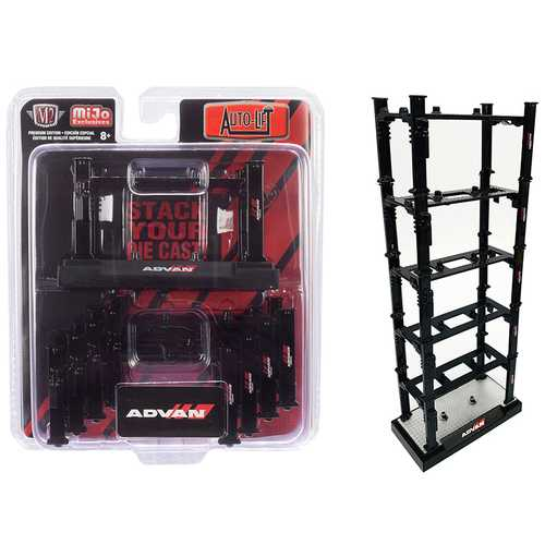 "Stackable Diecast Auto-Lifts 5 piece Set ""ADVAN Yokohama"" for 1/64 Scale Model Cars by M2 Machines"