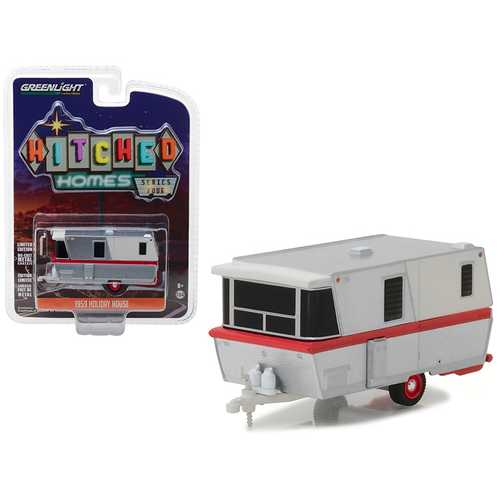 1959 Holiday House Travel Trailer Silver with Red Stripe Hitched Homes Series 4 1/64 Diecast Model by Greenlight