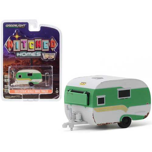 "1959 Catolac DeVille Travel Trailer Green and White (Unrestored) ""Hitched Homes"" Series 7 1/64 Diecast Model by Greenlight"