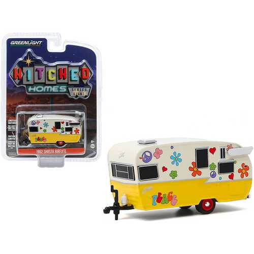 """1962 Shasta Airflyte Travel Trailer """"Peace and Love"""" Yellow and Cream """"Hitched Homes"""" Series 8 1/64 Diecast Model by Greenlight"""